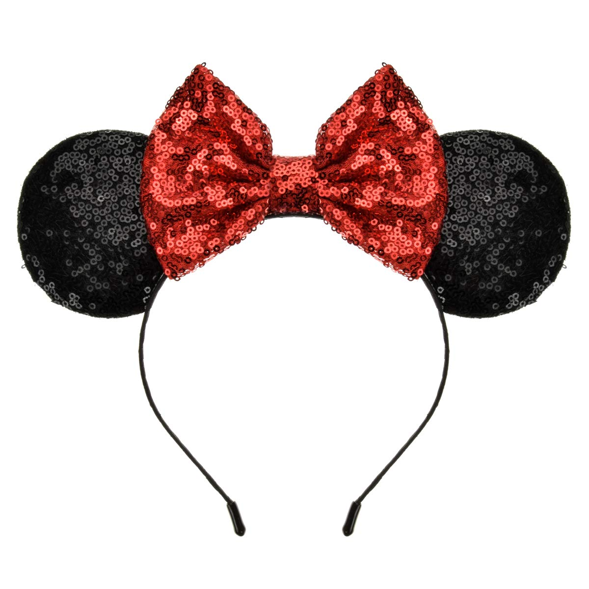 A Miaow Black Mouse Ears Headband MM Glitter Hair Hoop Girls Women Adults Butterfly Sequin Costum Hair Clasp Birthday Party Holiday Park Accessory  1 Black and Red