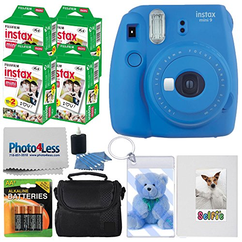 Fujifilm instax Mini 9 Instant Film Camera (Cobalt Blue) + Fujifilm Instax Mini Twin Pack Instant Film (80 Shots) + Photo Keychain + Selfie Album + 4 AA Batteries + Compact Case + Cleaning Cloth