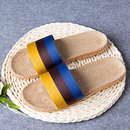 Toe Flats Shoes Men slip Yellow Open Linen Summer Slippers Indoor Women Anti Home Hunpta zq5nPvBxTP