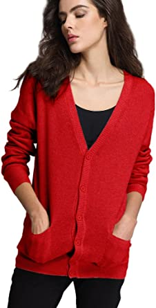 Women Japanese Button Down Long Sleeve V-Neck Soft School Cardigan Sweater