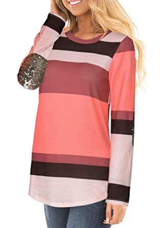 d72f9f4abb Women Long Sleeve Striped Color Block Crew Neck Sequins Elbow Shirt Top  Blouse size S (