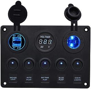 Febelle Panneau de Commande 5 interrupteurs avec 2 Ports USB et ℉ Voltmètre LED à Bascule 12 V/24 V Voiture Bateau Marine