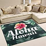 ALAZA Tropical Leaves Aloha Hawaii Flower Area Rug Rugs for Living Room Bedroom 7' x 5'