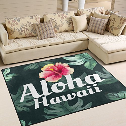 ALAZA Tropical Leaves Aloha Hawaii Flower Area Rug Rugs for Living Room Bedroom 7' x 5' by ALAZA