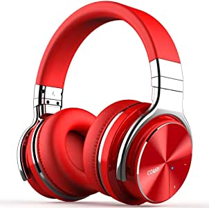COWIN E7 PRO Active Noise Cancelling Headphones Bluetooth Headphones with Microphone/Deep Bass Wireless Headphones Over Ear 30H Playtime for Travel/Work/TV/Computer/Cellphone (Red)