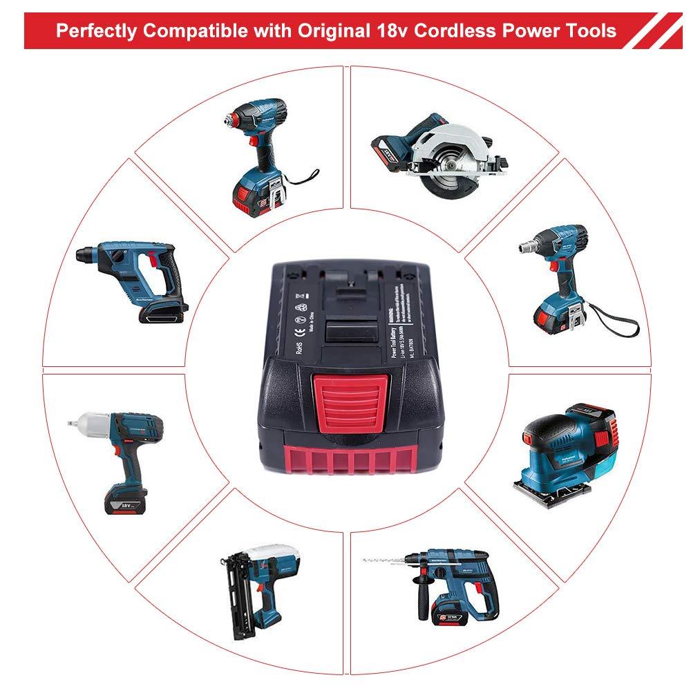 2Pack GatoPower 18V 5.5Ah Batterie BAT618 Lithium Ion Remplacement pour Bosch Batterie BAT609 BAT618 BAT618G 2607336092 BAT610G BAT609G BAT619 BAT619G 2607336091 17618 Outils /électriques Sans Fil