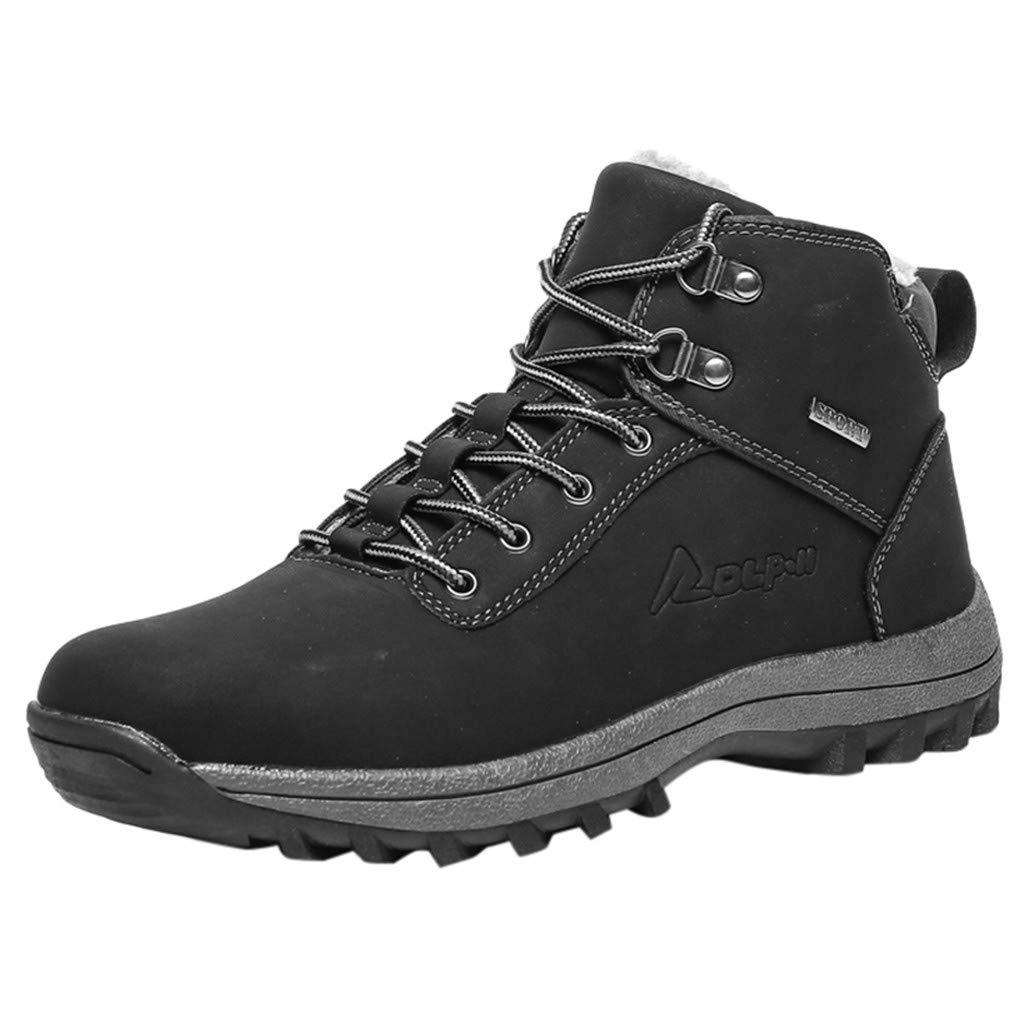SSUPLYMY Herren Winter Schneestiefel Mode Lace-Up Trekking-Wanderstiefel Warme Plus Samt Winterstiefel Bequeme Klassische Stiefel