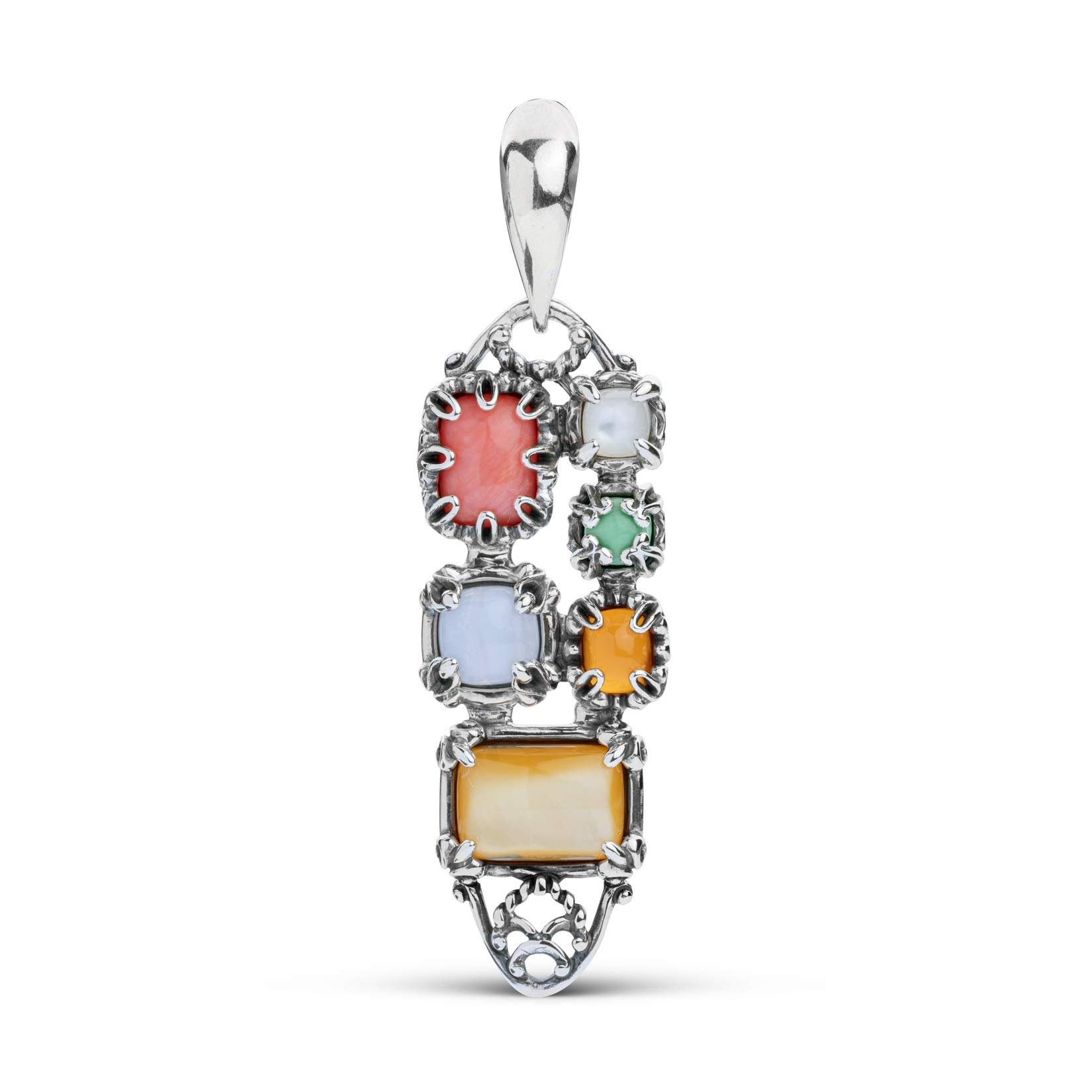 Carolyn Pollack Sterling Silver Multiple Pastel Gemstones Pendant Enhancer