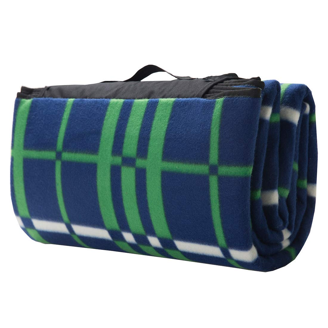 Oymyia Plaid Picnic Blanket Waterproof Ombre Green with Blue Color Multipurpose Foldable Water-Resistant Blankets