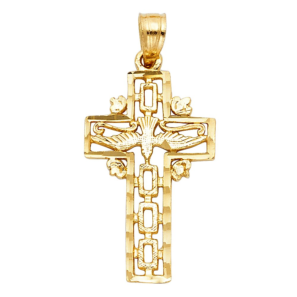 25mm x 11mm 14k Yellow Gold Religious Cross with Holy Spirit Dove Charm Pendant with 18 Rolo Chain