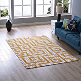 Modway R-1015C-58 Nahia Geometric Maze 5x8 Area Rug, Twin, Ivory/Light Gray and Banana Yellow