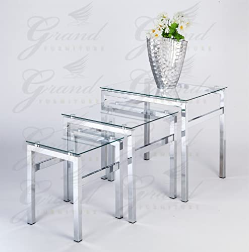 Glass Nest Of Tables 3 Coffee Side Coffee Lamp Table Set