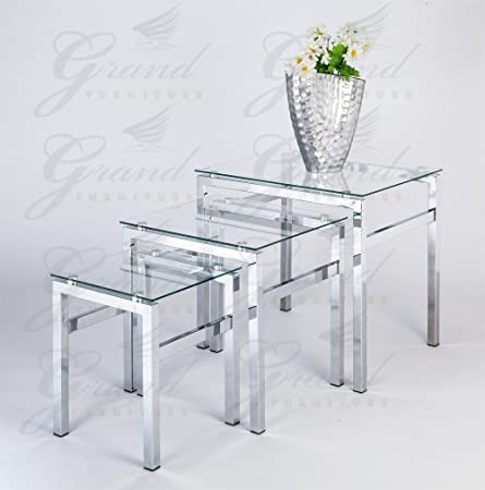 Glass Nest Of Tables 3 Coffee Side Coffee Lamp Table Set Living Room  Furniture: Amazon.co.uk: Kitchen U0026 Home
