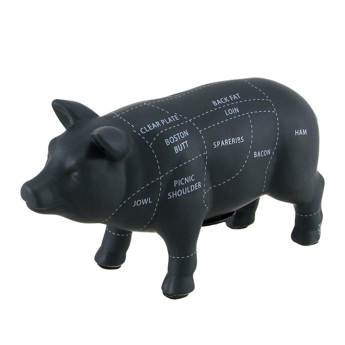 ブラックセラミックPig Shaped Coin Bank Butcher 4 1 / 2インチチャートPiggy Bank by Zeckos   B015NETEKE