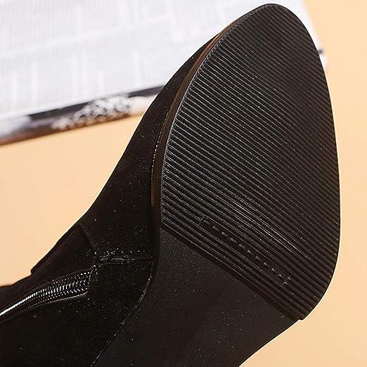 Viernes Negro JiaMeng Botines Cortos de Tobillo Botas Navidad de Cuero de Tubo Medio Zapatos Zipper Boot Mujer Botas Navidad Zapatos tacón Alto: Amazon.es: ...