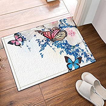 Attractive NYMB Blue And Multicolored Butterfly In White Flowers Bath Rug, Non Slip  Floor Entryways