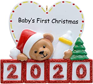 2020 Baby's 1st Christmas Personalized Bear Ornament Gift