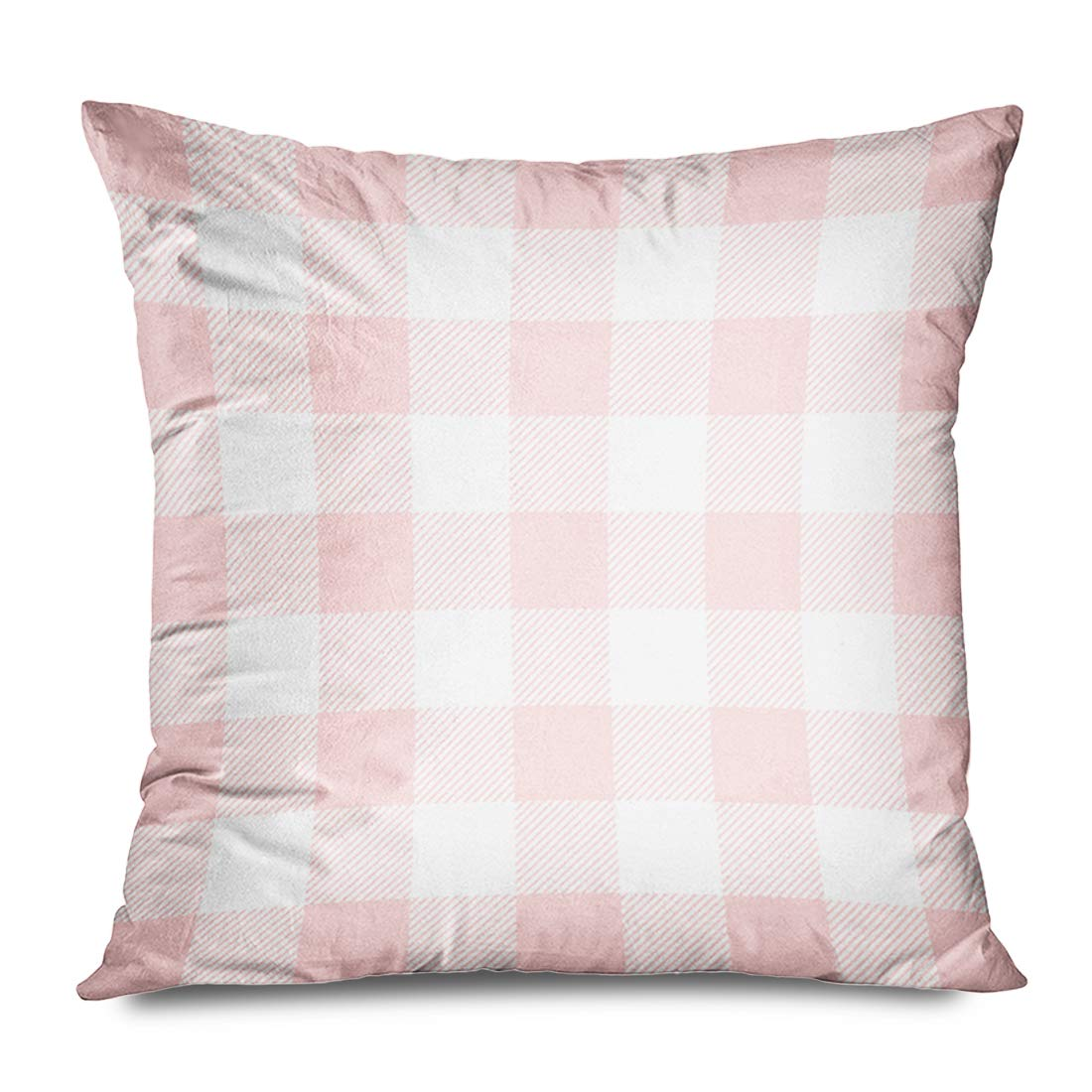 Ahawoso Throw Pillow Cover Square 18x18 Inches Light Pink Preppy Buffalo Check Plaid Cushion Case Home Decor Zippered Pillowcase