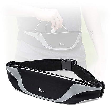 84e2272d2430 Nacuwa Running Belt, Adjustable Waist Pack - Waterproof Runners Belt for  Hiking Fitness - Reflective Waist Bag with 2 Pockets for Women, Men and  Fits ...