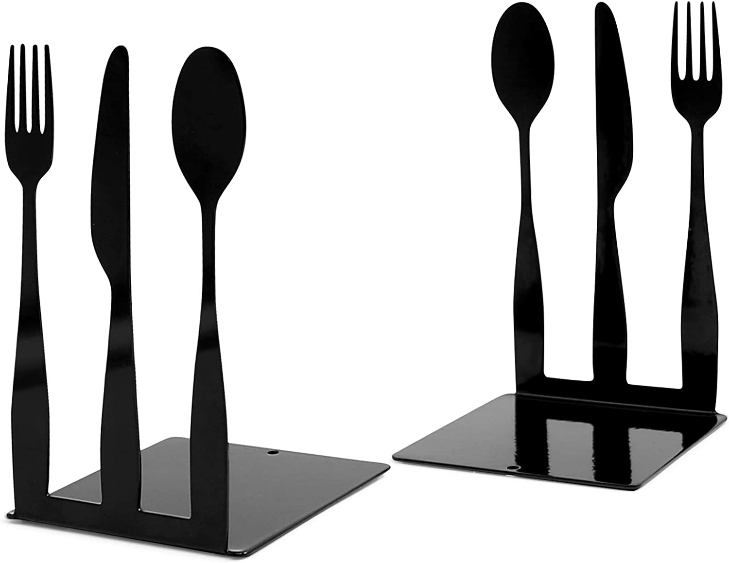 Huray Rayho Cookbook Bookends, Fork Knife Spoon Kitchen Metal Cookbook Storage Modern Functional Kitchen Book Holders Chef Cook Housewarming Gift, Set of 2