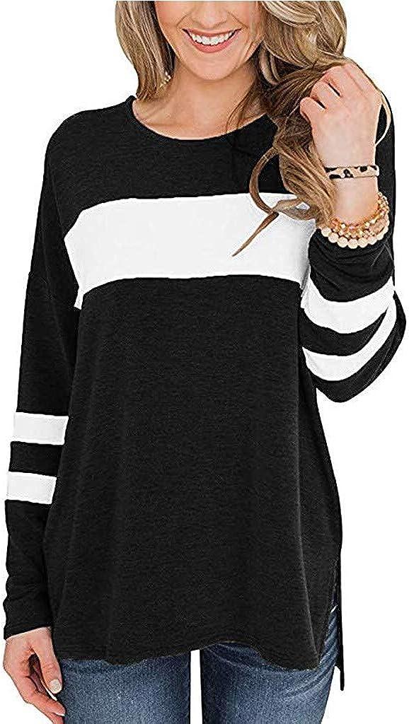 KYLEON Womens Long Sleeve Color Block Tunic Tops Cotton Henleys Shirt Casual Sweatershirt Blouse Pullover T Shirt Tee