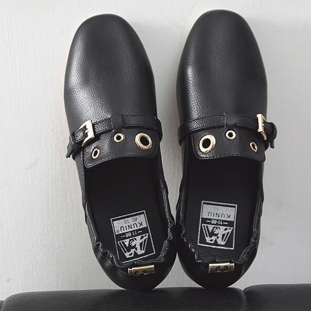 Noir EU39 UK6.5 CN40 Chaussures HAIZHEN Les Les dames Filles Bottillons femmes PU été Fall Comfort Flats Flat Heel Round Toe pour Décontracté Office & voitureeer Pour les 18-40 ans (Couleur   Beige, taille   EU36 UK4 CN36)