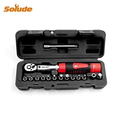 "SOLUDE 15 Piece 1/4"" Bicycle Torque Wrench Set, 2-24N.m Cycling Bike Maintenance Socket Tools Kits with 1/4"" to 3/8"" Adapter, Extension Bar and Protective Storage Box"