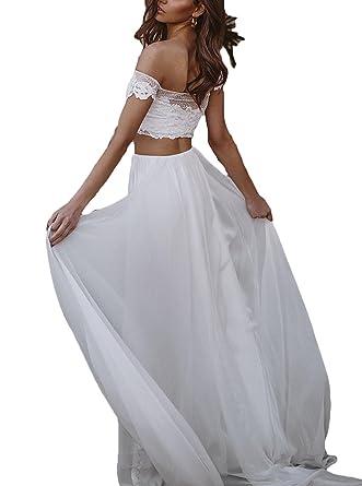 eec53796103 Amazon.com  Ri Yun Women s Two Piece Boho Wedding Dress Beach Lace Chiffon  Off The Shoulder Wedding Dresses for Bride 2018  Clothing