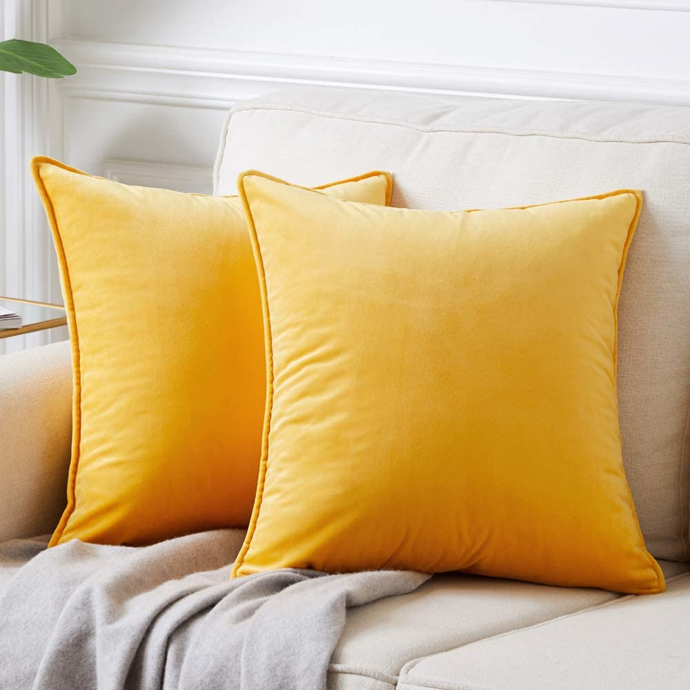 Andaot Pack of 2 Velvet Decorative Throw Pillow Covers 20x20 Inch for Couch, Soft Soild Square Cushion Case Set for Sofa Bedroom Car Outdoor Cushion Pillow Cases(Yellow)