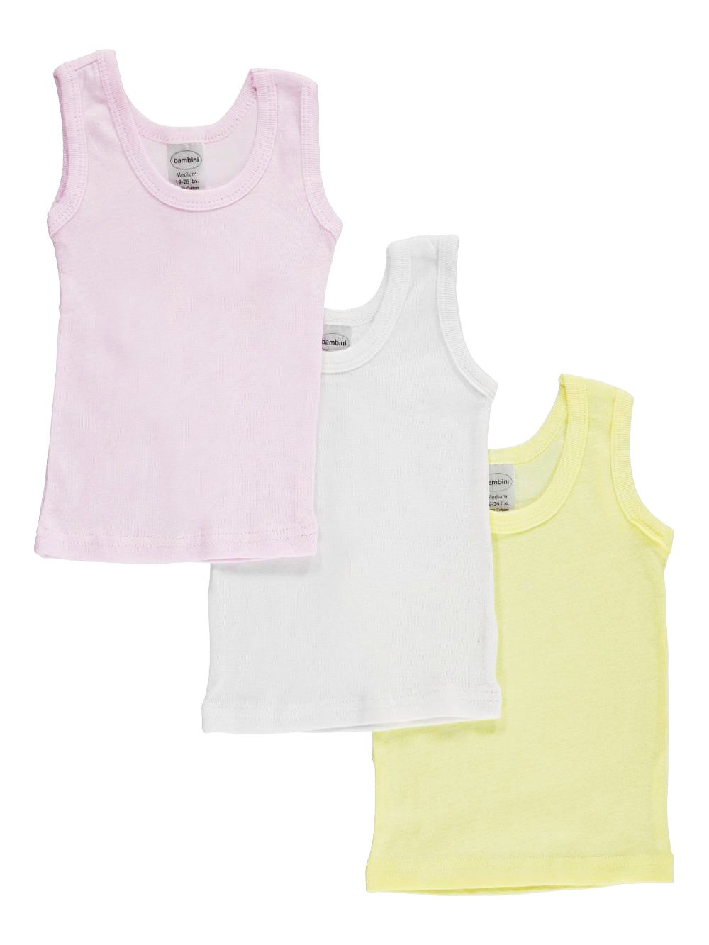 Bambini Baby Girls' 3-Pack Sleeveless T-Shirts