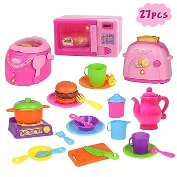 Nuheby Küchenzubehör Kinder Spielzeug-Rollenspiel Küchen-Spielzeugset  Pädagogisches Spielzeug Kochspiel für Kinder Geschenk ab 3 4 5 Jahre Jungen  ...