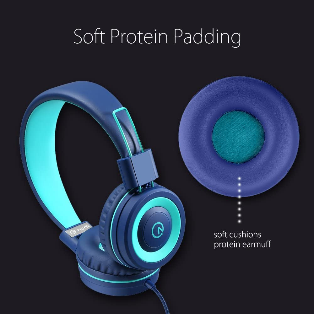 noot products K11 Foldable Stereo Tangle-Free 3.5mm Jack Wired Cord On-Ear Headset for Children//Teens//Boys//Girls//Smartphones//School//Kindle//Airplane Travel//Plane//Tablet Navy//Teal Kids Headphones