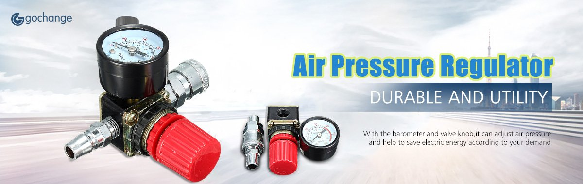 Air regulador de presión, gochange 140 PSI 1/4 de pulgada Compresor De Aire Regulador Relief/Presostato de válvulas con manómetro Tubo flexible Quick ...