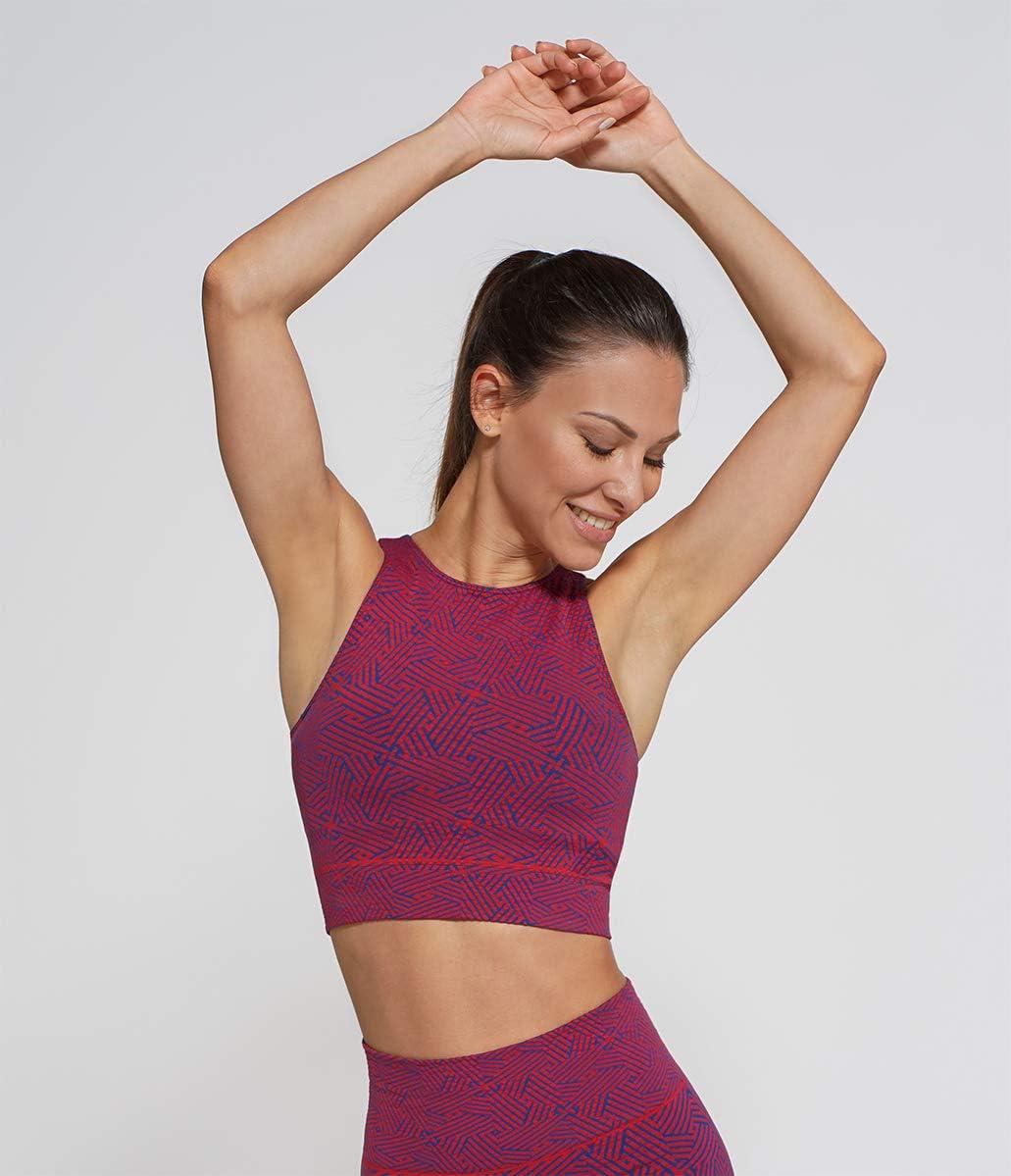 gimnasio y yoga Heart And Soul tejido transpirable y fabricado en Italia fantas/ía geom/étrica bicolor corto y sin costuras Top deportivo Sunshine Reef para fitness