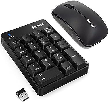 Mini teclado numérico, 2.4 G Mini USB numérico teclado y ratón Combo con receptor USB para oficina, portátil, computadora portátil de sobremesa, PC ...