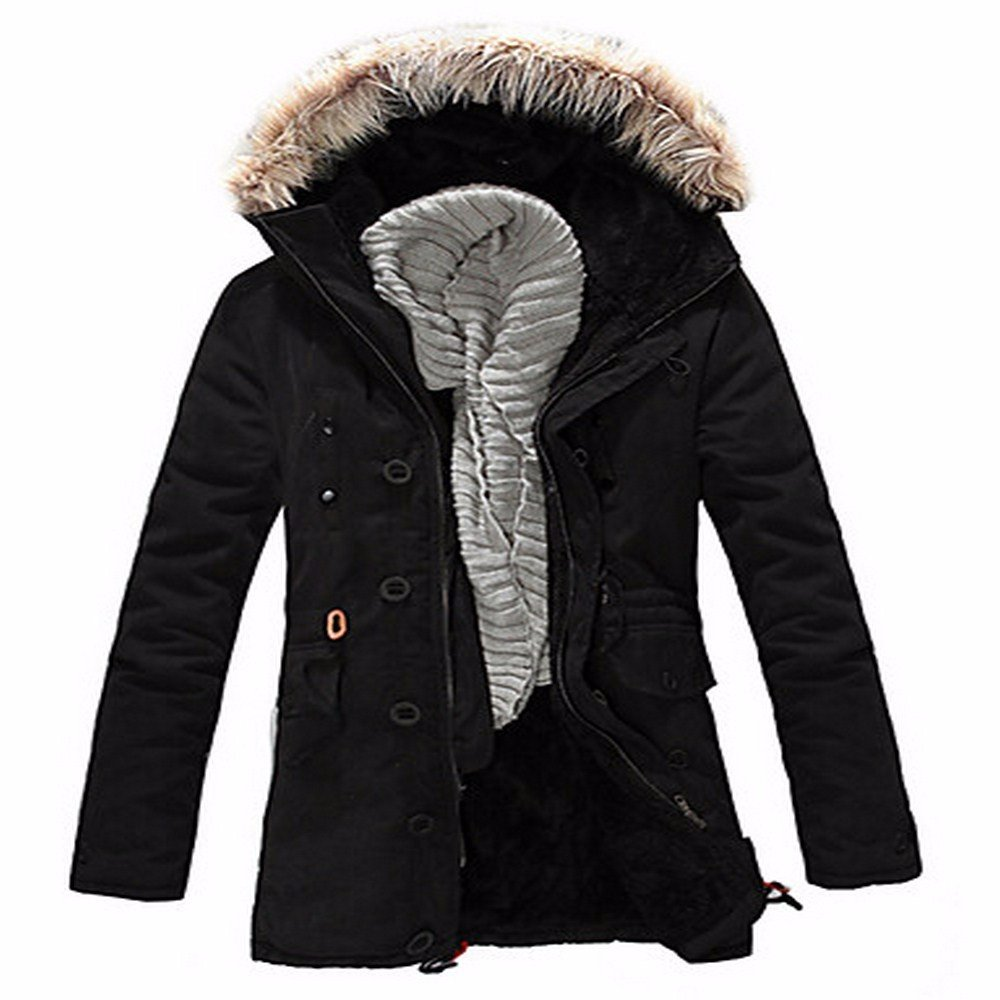 noir grand ZHUDJ Hommes's Long Manteau Parka Décontracté Simple, Solid-Polyester Quotidien Grande Taille Manches Longues Polyester