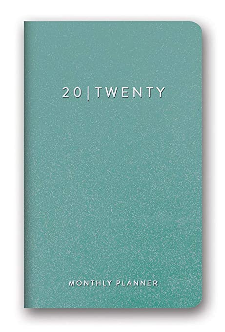 Orange Circle Studio 2020 Leatheresque Mini Monthly Planner, August 2019 - December 2020, Teal Shimmer