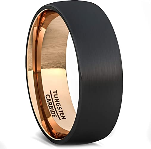 Mens Wedding Band Two Tone Black Rose Gold Tungsten Ring Brushed Center Dome 8mm Comfort Fit Amazon Ca Jewelry
