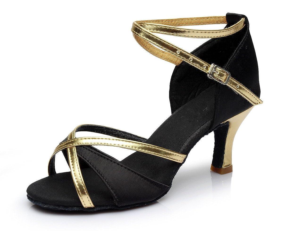VESI-Zapatos de Baile Latino de Tacón Alto/Medio para Mujer Negro 40(Tacón 5cm) VZA0003H40