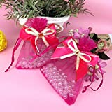 """Cafolo 50pcs 4""""x6"""" inch Rose Red Organza Gift bags Candy Jewelry Pouch Wedding Party Favor w/ Ribbon Bow attached (4""""x6"""", Rose Red)"""