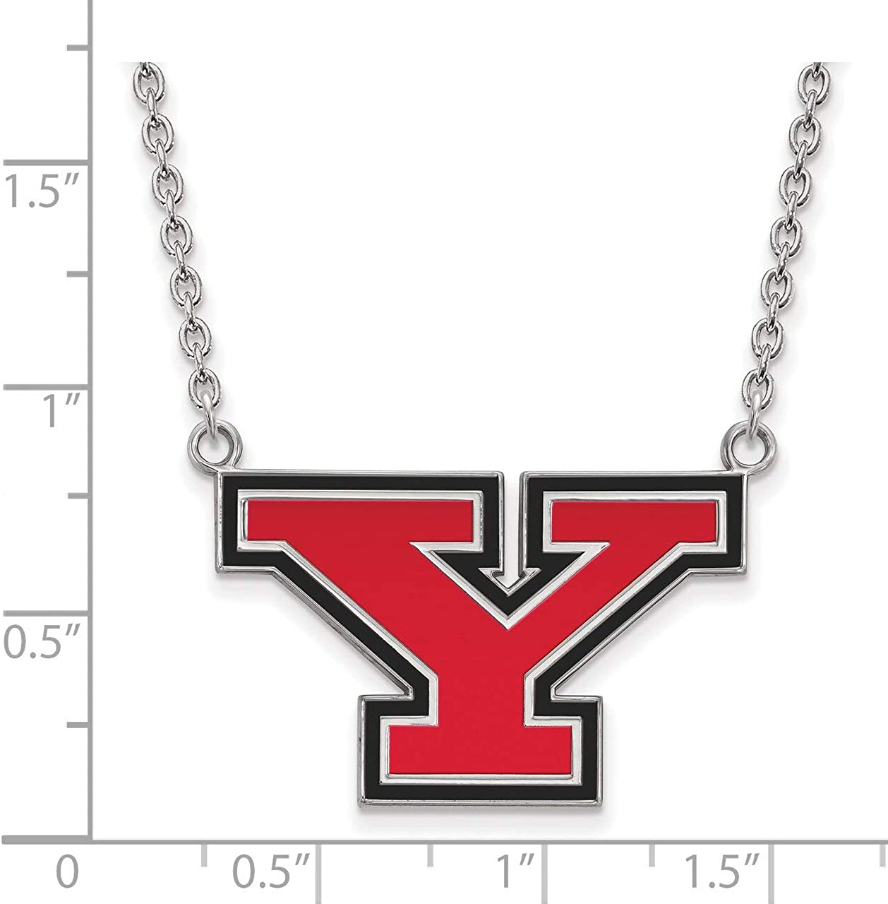 Lex /& Lu LogoArt Sterling Silver Youngstown State University Lg Enl Pendant w//Necklace