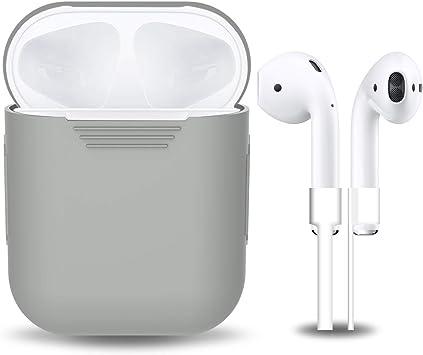 Airpods carcasa de silicona con correa de deporte, gulaki AIRPOD colgar caja con cubierta antideslizante y piel accesorios para Apple Wireless Airpods estuche de carga (Gris 2 en 1): Amazon.es: Electrónica