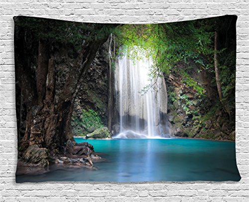 Rain Wall Hanging - Ambesonne Nature Tapestry by, Surreal Scene Deep down in Rainforest with Waterfall Idyllic Image, Wall Hanging for Bedroom Living Room Dorm, 80WX60L Inches, Turquoise Brown Fern Green
