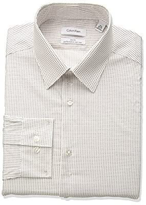 Calvin Klein Men's Non Iron Stretch Slim Fit Dash Print Dress Shirt