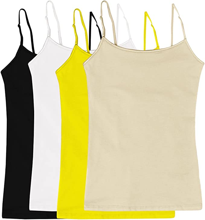 V FOR CITY Womens Basic Solid Camisole with Shelf Bra Adjustable Spaghetti Strap Tank Top Pack of 2