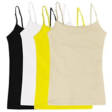 10023abe6e Women s Camisole Built-in Shelf Bra Adjustable Spaghetti Straps Tank Top  Pack 4 Pk Yellow