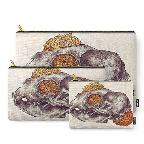 Society6 Inktober Cat Skull Carry-All Pouch Set of 3