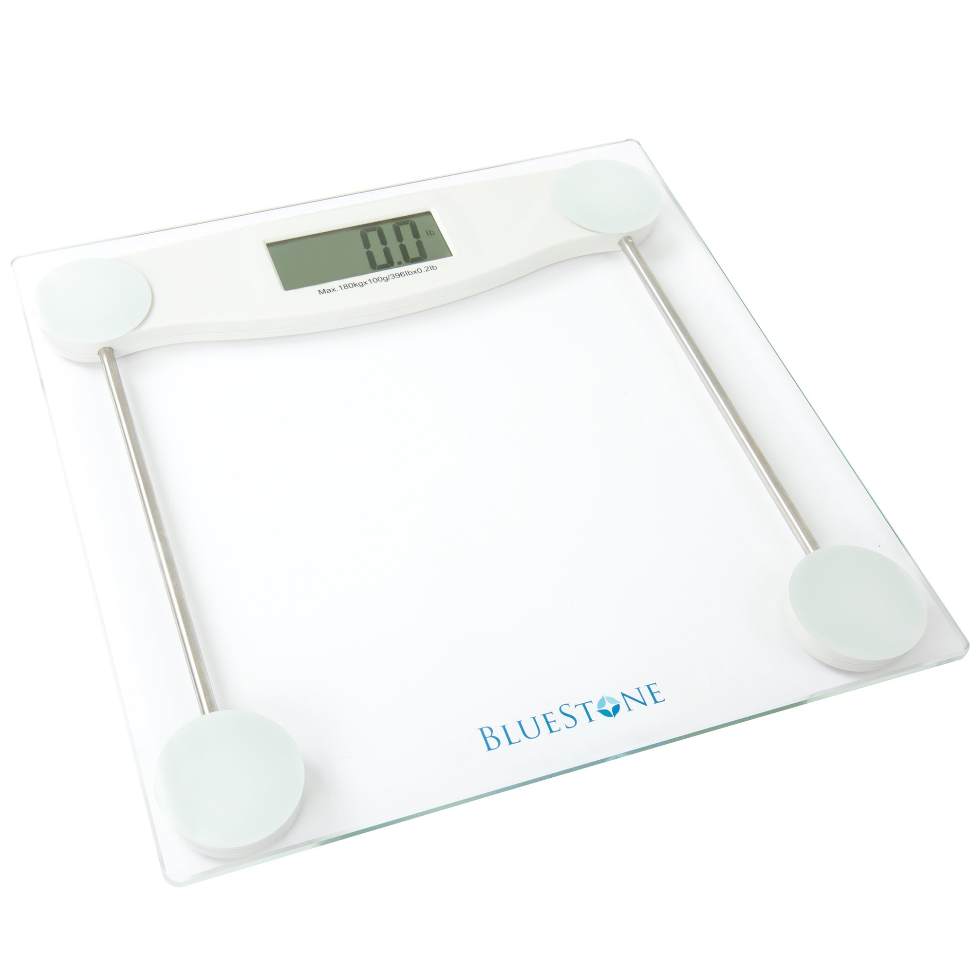 Digital Body Weight Bathroom Scale, Cordless Battery Operated Large LCD Display for Health and Fitness Tracking Scale by Bluestone- Clear Glass