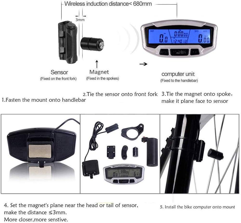 contachilometri Saskate multifunzione impermeabile con display digitale LCD contachilometri da bicicletta