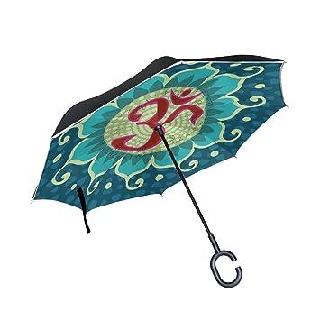 BENNIGIRY Paraguas reversible plegable de doble capa con protección contra el viento, protección UV,